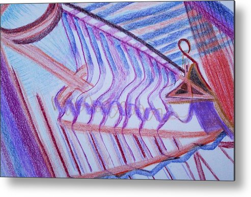Abstract Metal Print featuring the painting Construction by Suzanne Udell Levinger
