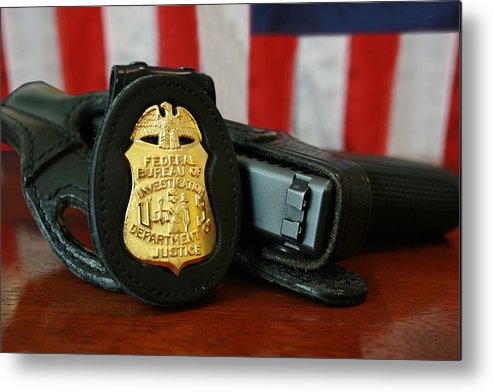 History Metal Print featuring the photograph Contemporary Fbi Badge And Gun by Everett