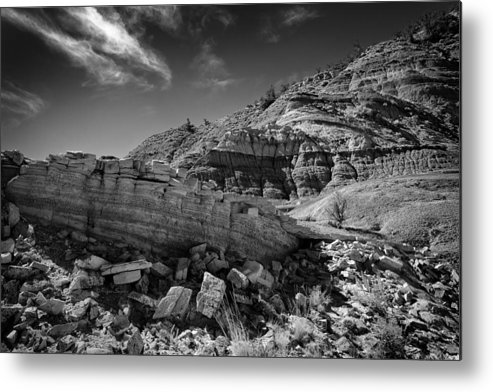 Beautiful Photos Metal Print featuring the photograph Cottonwood Creek Strange Rocks 3 Bw by Roger Snyder