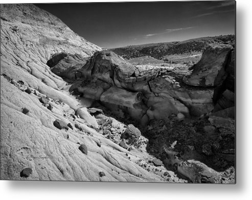 Beautiful Photos Metal Print featuring the photograph Cottonwood Creek Strange Rocks 7 Bw by Roger Snyder