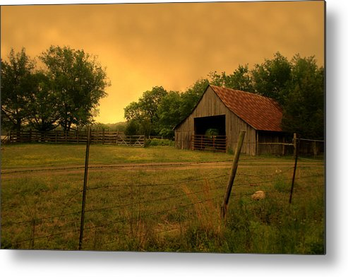 Orange Metal Print featuring the photograph Countryside by Nina Fosdick