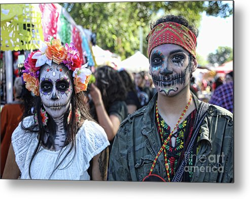 Dia De Los Muertos Metal Print featuring the photograph Couple Day Of Dead 2 by Chuck Kuhn