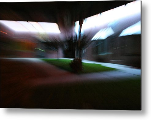 Courtyard Metal Print featuring the photograph Courtyard At Night by Ric Bascobert