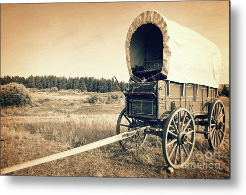 Wagon; Wild West Metal Print featuring the photograph Covered Wagon by Delphimages Photo Creations