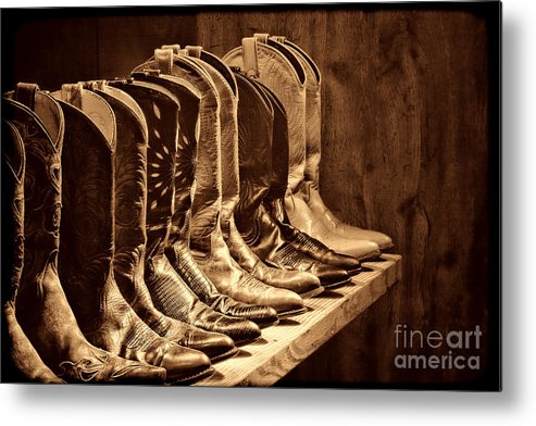 Cowgirl Metal Print featuring the photograph Cowgirl Boots Collection by American West Legend By Olivier Le Queinec