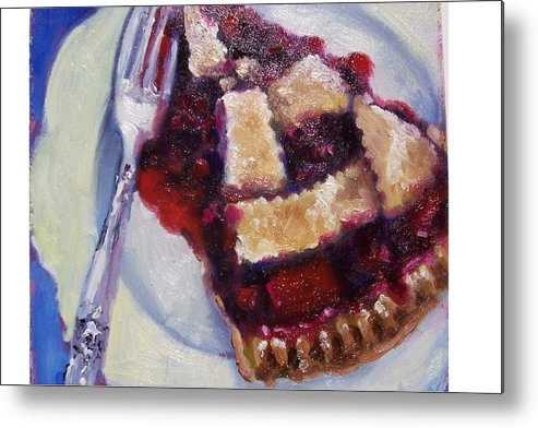 Painting Metal Print featuring the painting Cranberry Raisen Pie     by Susan Jenkins