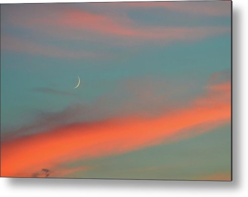 Crescent Metal Print featuring the photograph Crescent Moon And Pink Clouds by Lyle Crump