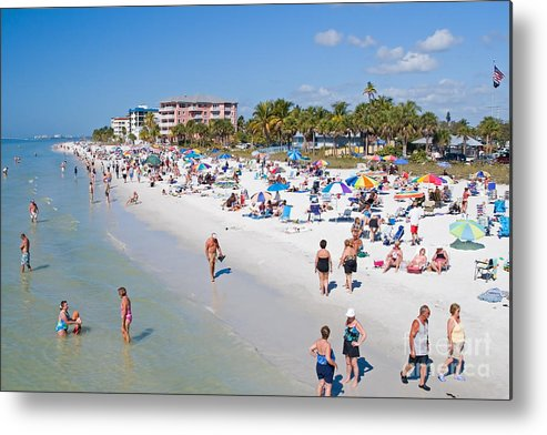 Beach Metal Print featuring the photograph Crowd On A Summer Beach In Ft Meyers Florida by ELITE IMAGE photography By Chad McDermott
