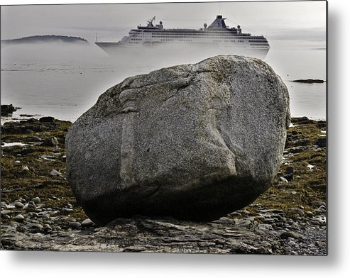 Acadia Metal Print featuring the photograph Cruise Ship Aground In Fog by Jack Goldberg