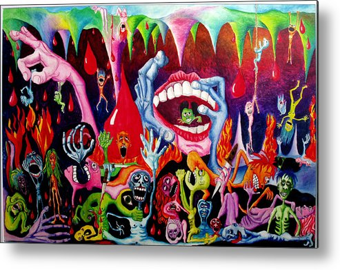 Hell Metal Print featuring the painting Damnation Of The Evil by Nancy Mueller