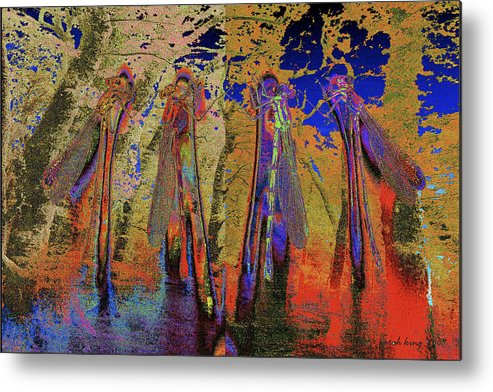 Landscape Metal Print featuring the painting Damsel Fly In The Burning Rainforest by Sarah King