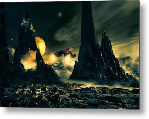 Science Fiction Metal Print featuring the mixed media Dark Planet by Bob Orsillo