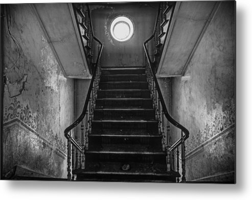Castle Metal Print featuring the photograph Dark Stairs To Attic - Urban Exploration by Dirk Ercken