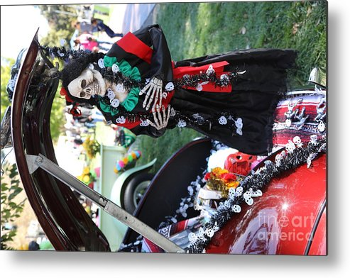 Dia De Los Muertos Metal Print featuring the photograph Day Of The Dead Car Trunk Skeleton by Chuck Kuhn