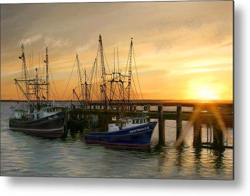 Boats Metal Print featuring the digital art Daybreak by Sue Brehant