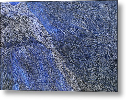 Abstract Metal Print featuring the painting Deep Blue by Prakash Bal Joshi