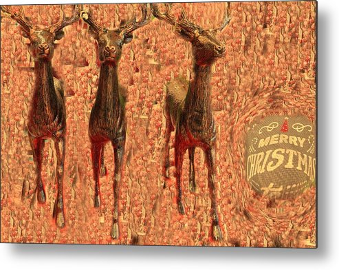 Metal Print featuring the photograph Deers by Miriam Marrero