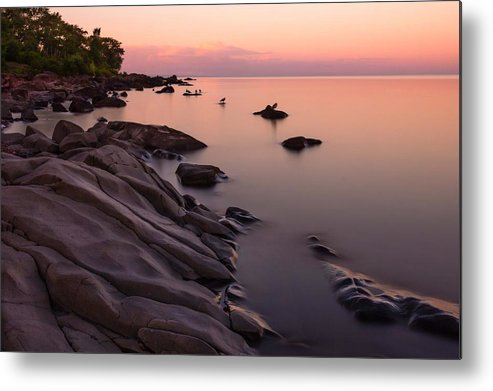 dimming Of The Day a Wonderful Song By Bonnie Raitt sunset Calm Peace Serenity lake Superior lake Superior Sunset brighton Beach Duluth Minnesota Nature long Exposure lake Superior Northshore ancient Rocks magic Metal Print featuring the photograph Dimming Of The Day by Mary Amerman