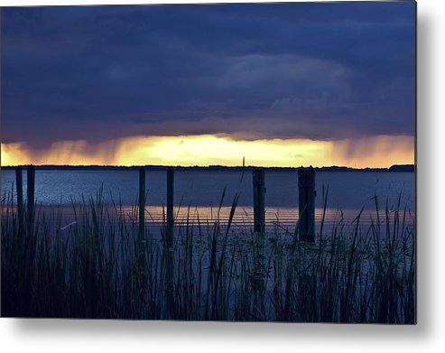 Lake Metal Print featuring the digital art Distant Storms At Sunset by DigiArt Diaries by Vicky B Fuller