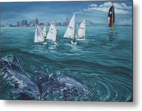 Dolphins Metal Print featuring the painting Dolphins In Corpus Christi Bay by Diann Baggett