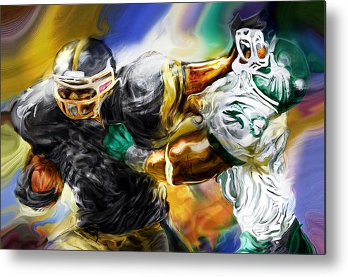 Football Metal Print featuring the painting Downtown Express by Mike Massengale