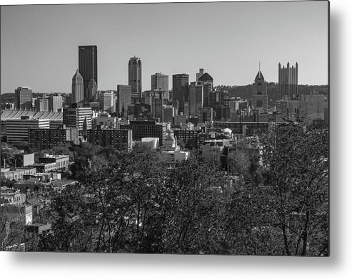 Pennsylvania Metal Print featuring the photograph Downtown Pittsburgh In Black And White by Jim Cheney