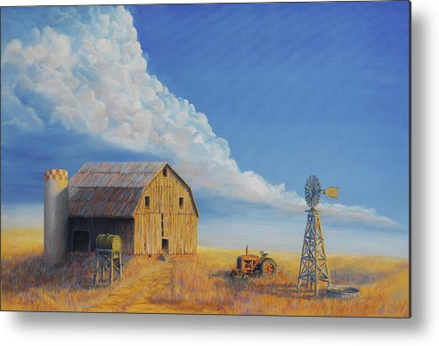 Barn Metal Print featuring the painting Downtown Wyoming by Jerry McElroy