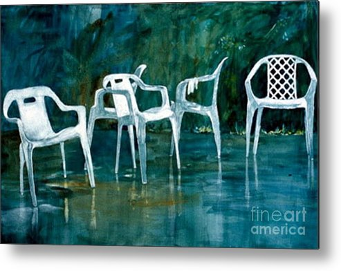 Lawn Chairs Metal Print featuring the painting Drip Dry by Elizabeth Carr