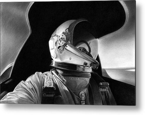 Aviation Art Metal Print featuring the drawing Driving The Dragon Lady by Lyle Brown