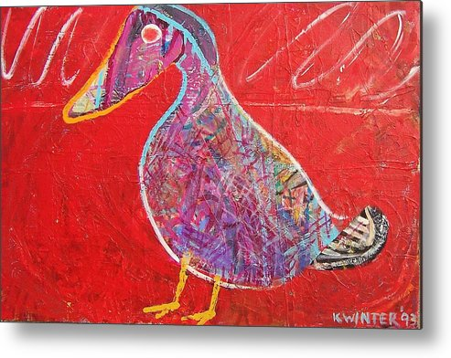 Duck Bird Red Metal Print featuring the mixed media Duck by Dave Kwinter