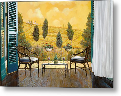 Terrace Metal Print featuring the painting due bicchieri di Chianti by Guido Borelli