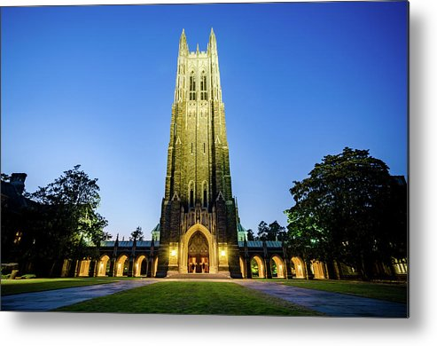 Fall Metal Print featuring the photograph Duke Chapel At Dusk by Anthony Doudt