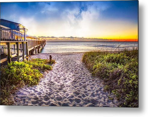 Boats Metal Print featuring the photograph Dunes At The Pier by Debra and Dave Vanderlaan