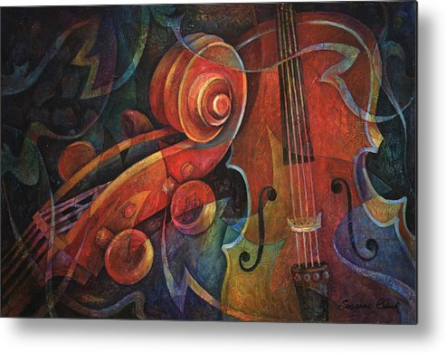 Susanne Clark Metal Print featuring the painting Dynamic Duo - Cello And Scroll by Susanne Clark