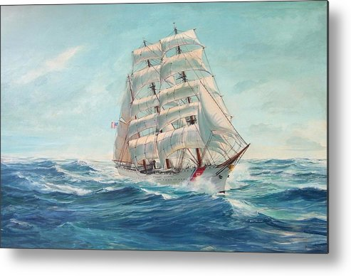 Coast Guard Training Ship - Eagle Newport Metal Print featuring the painting Sailing Eagle by Perry's Fine Art