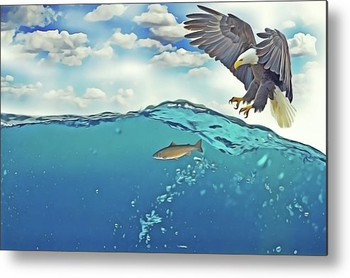 Eagle Metal Print featuring the painting Eaglenfish by Harry Warrick