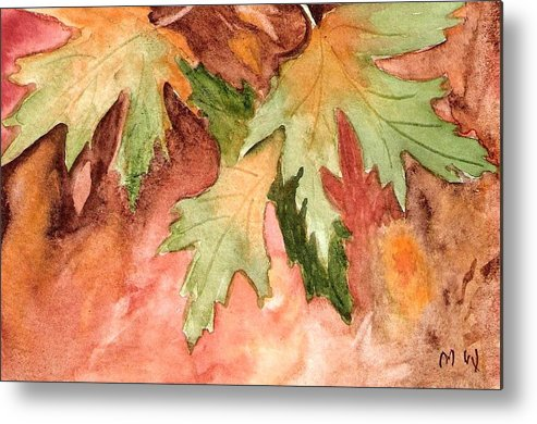 Autumn Fall Leaves Painting Green Gold Orange Yellow Red Watercolor Metal Print featuring the painting Early Autumn by Marsha Woods