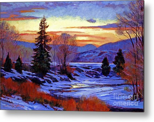Snow Metal Print featuring the painting Early Spring Daybreak by David Lloyd Glover