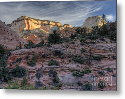 Hdr Metal Print featuring the photograph East Zion Canyon Sunrise by Sandra Bronstein