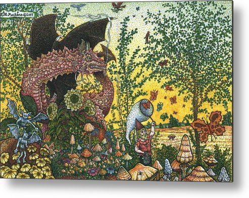 Dragon Metal Print featuring the drawing Edge Of The Fairy Ring by Bill Perkins