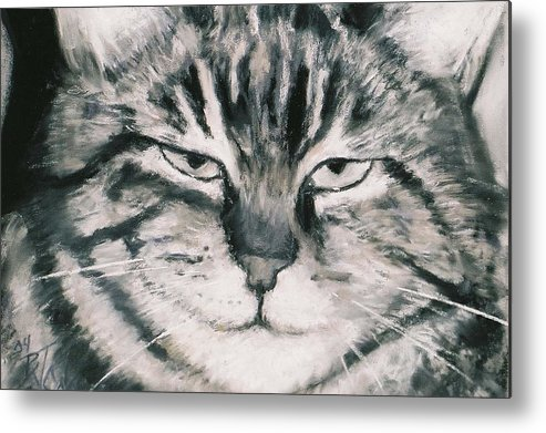 Close Up Of Tabby Cat Metal Print featuring the painting El Gato by Billie Colson