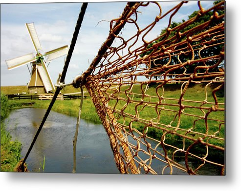 Enkhuizen Metal Print featuring the photograph Enkhuizen Windmill And Nets by KG Thienemann