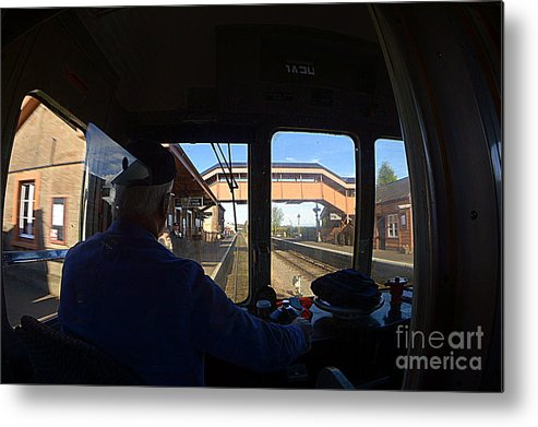 Train Metal Print featuring the photograph Entering The Station by Andy Thompson