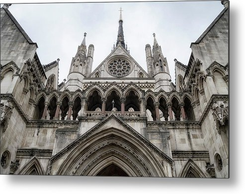 London Metal Print featuring the photograph Entrance To The Royal Courts London by Shirley Mitchell