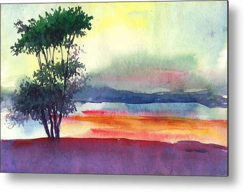 Water Color Metal Print featuring the painting Evening Lights by Anil Nene