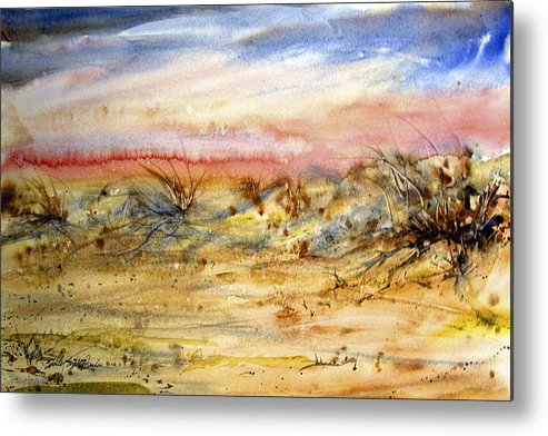 Beach Metal Print featuring the painting Evening On The Beach by Shirley Sykes Bracken