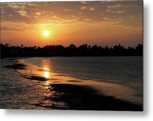 Sun Metal Print featuring the photograph Evening Sunset by Angie Wingerd