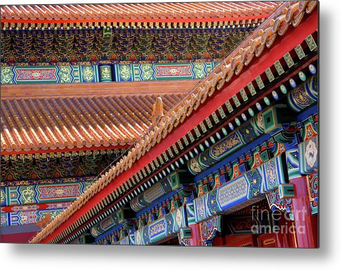Architecture Metal Print featuring the photograph Facade Painting Inside The Forbidden City In Beijing by Julia Hiebaum