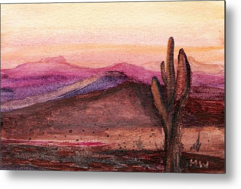 Desert Cactus Orange Pink Dusk Sunset Metal Print featuring the painting Faithful Old Sentinel by Marsha Woods