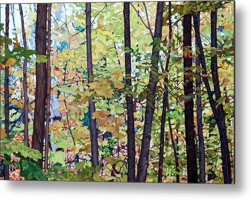 Landscape Metal Print featuring the painting Fall Colour Medley by Allan OMarra